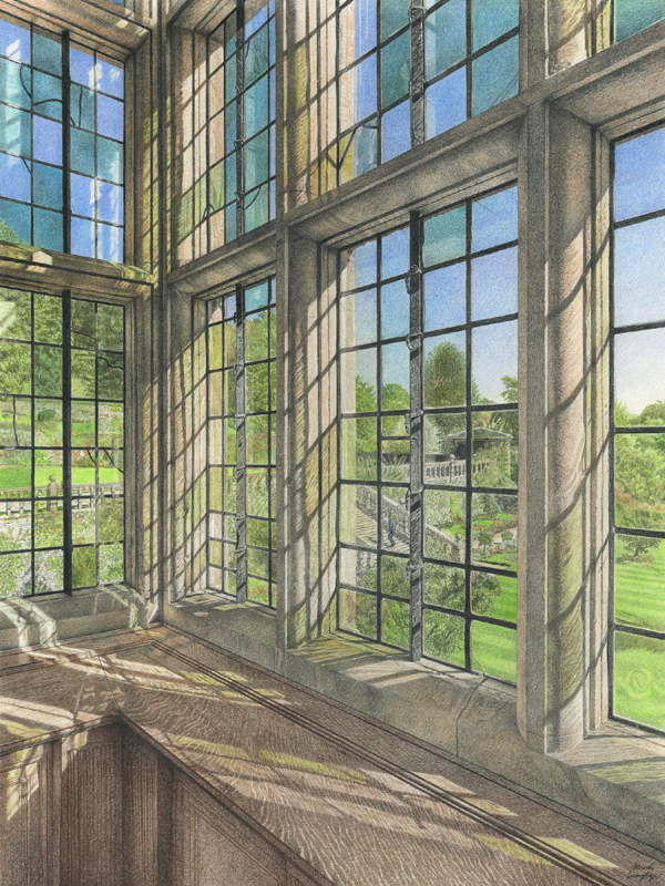 'Aspectus Apricus' - Appearance of light. Original colour pencil drawing through a window of Haddon Hall by Mark Langley Fine Artist - 36 x 48 cm.