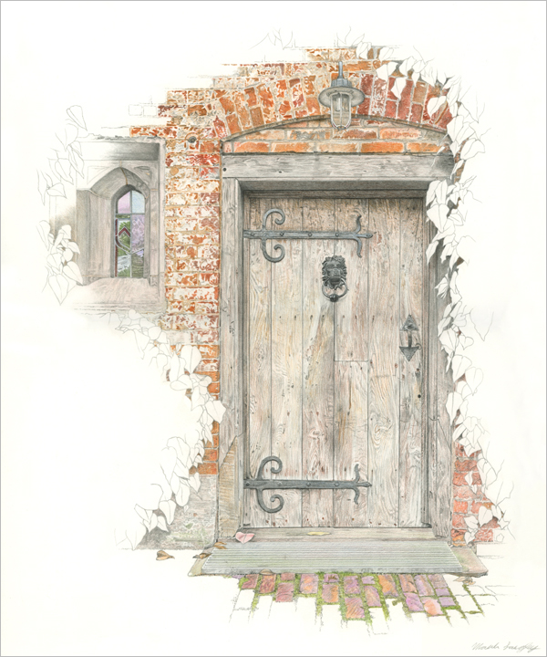'Baddesley Clinton Door and Window' - Original graphite and colour pencil drawing by Mark Langley Fine Artist - 30 x 36 cm. With existing frame £600. Please enquire.