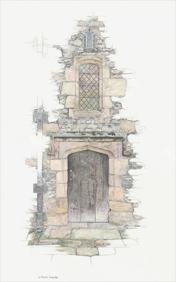 'Haddon Hall II' - Original graphite and colour pencil drawing by Mark Langley Fine Artist - 30 x 48 cm. Framed £750. Please enquire.