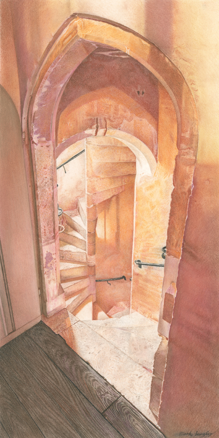 'Knole Spiral Staircase' - Chalk Pastel drawing by Mark Langley Fine Artist - 24 x 48 cm. With existing frame £550. Hall of Frames, Belper.