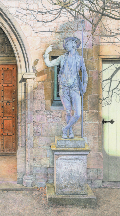 'Shepherd's Temptation' - Original colour pencil drawing by Mark Langley Fine Artist - 30 x 54 cm. With existing frame £1200. Please enquire.
