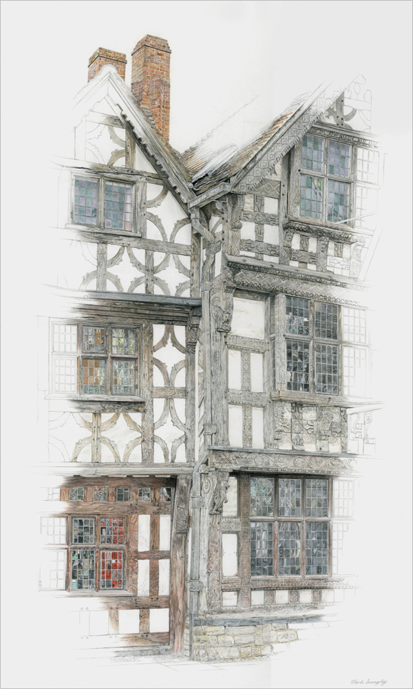 'The Garrick Inn and Harvard House connection' - Colour pencil and pencil drawing by Mark Langley Fine Artist - 36 x 60 cm. With existing frame £1300. Fourwalls Gallery, Melton Mowbray.