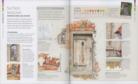 My recent drawing of a door and window is in the August 2017 release DK Books 'Artist's Drawing Techniques'
