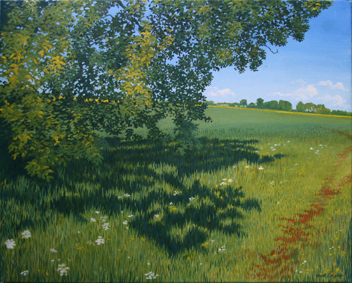 'Field Edge Shade' - Oil on canvas not framed by Mark Langley Fine Artist - 51.5 x 40.5 cm, 1.5 cm shallow canvas edge £290. Please enquire.
