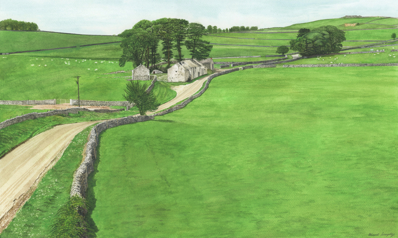'BLees Barn' - Original watercolour painting by Mark Langley Fine Artist - 60 x 36 cm. Biggin, Peak District landscape now in St John Street Gallery and Cafe.