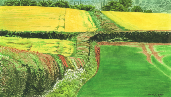 'Mackworth Hedge Junction' - Original watercolour painting by Mark Langley Fine Artist - 48 x 24 cm. With existing frame £375. Please enquire.