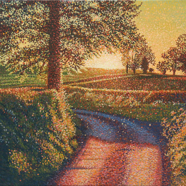 'Mercaston Lane Evening Glow' - Oil on canvas not framed by Mark Langley Fine Artist - 30 x 30 cm, 1.5 cm shallow canvas edge £250. At St. John Street Gallery.