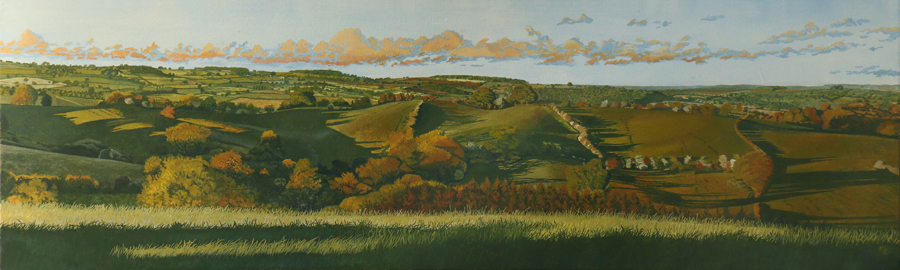 'Muggintonlane End View to Turnditch' - Oil on canvas by Mark Langley Fine Artist - 100 x 30 cm 1.5 cm shallow canvas edge - SOLD