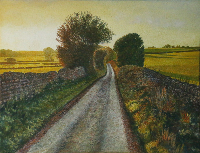 'Pale Row October' - Oil on canvas not framed by Mark Langley Fine Artist - 51.5 x 40.5 cm. 1.5 cm shallow canvas edge £290. Please enquire.
