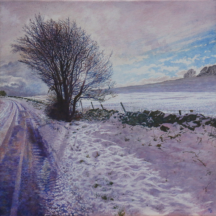 'Snow Covered Lane Side at Wormhill' - Oil on canvas not framed by Mark Langley Fine Artist - 40 x 40 cm, 1.5 cm shallow canvas edge - SOLD