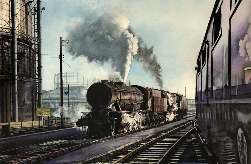 Mark Langley Railway Artist: 90396 and 48315 at Derby sidings